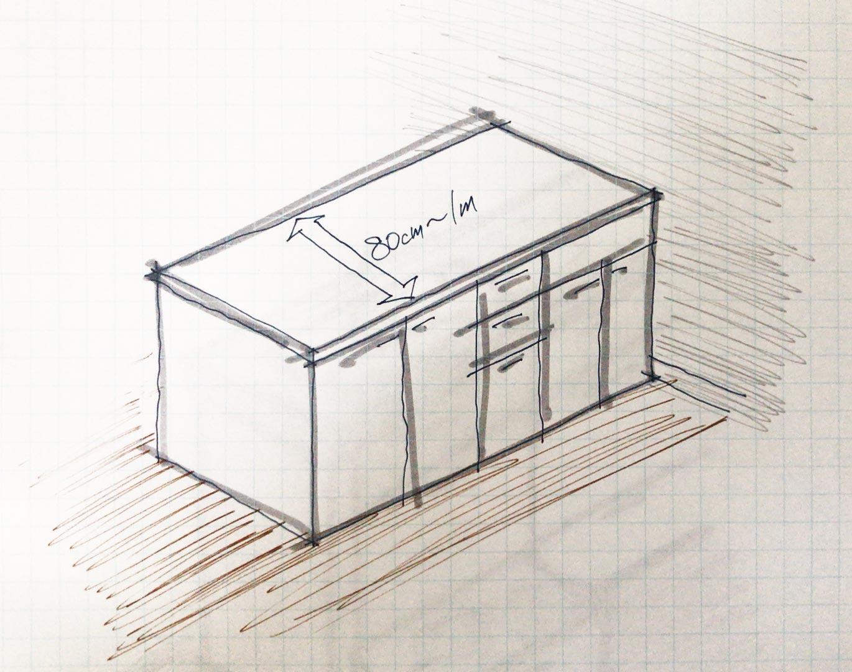 カウンターキッチンの奥行きは80cm〜1m程度