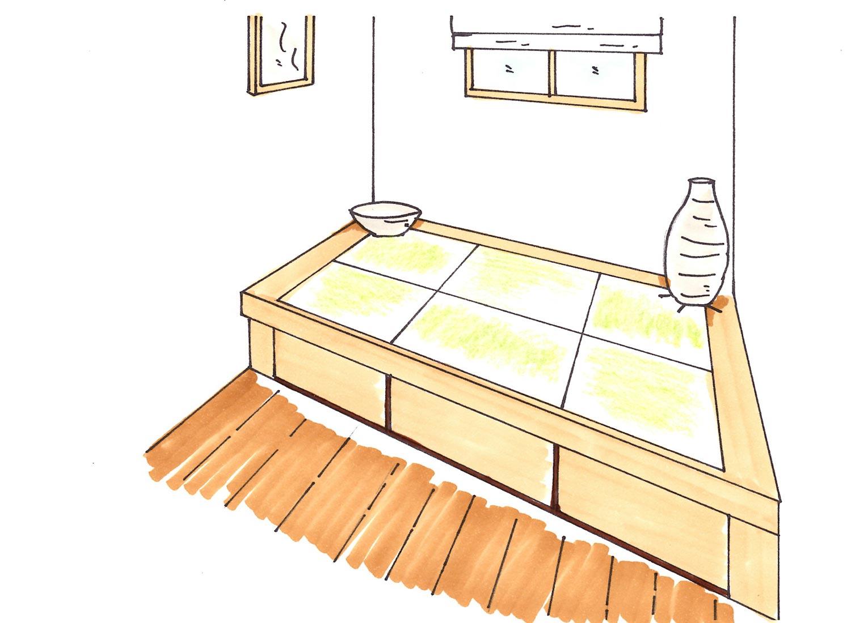リビングと続きの和室では、境目の部分の畳を小上がり
